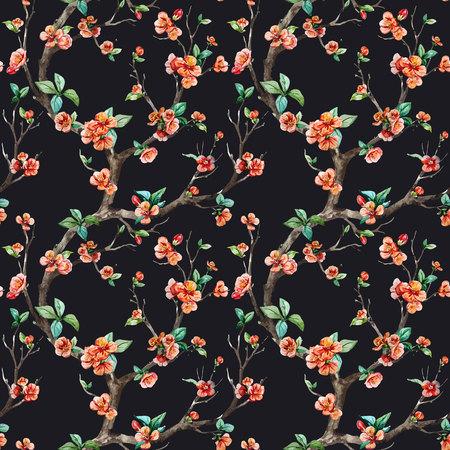 Prachtige vector patroon met mooie aquarel sakuraboom Vector Illustratie