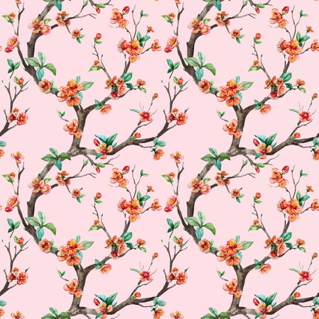 japanese apricot: Beautiful vector pattern with nice watercolor sakura tree Illustration