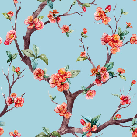 Beautiful vector pattern with nice watercolor sakura tree Vettoriali