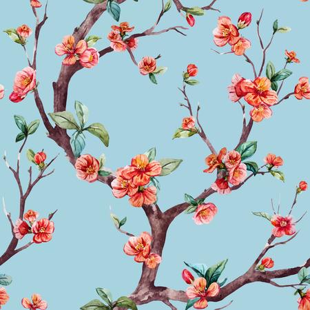 flor de durazno: vector patrón hermosa con el árbol de sakura bonita acuarela