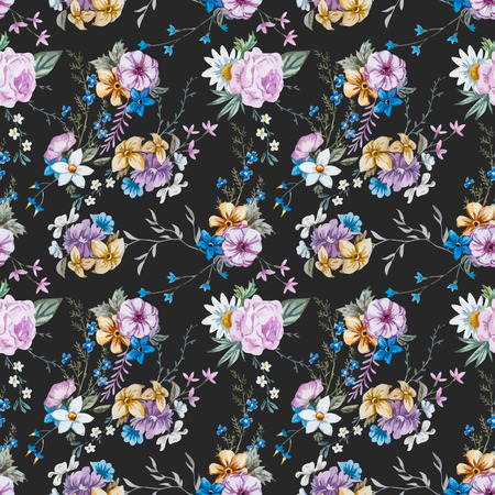 beautiful flowers: Beautiful seamless vector pattern with nice watercolor hand drawn flowers