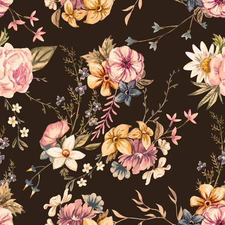 Beau modèle vectorielle continue avec de belles fleurs dessinées à la main aquarelle