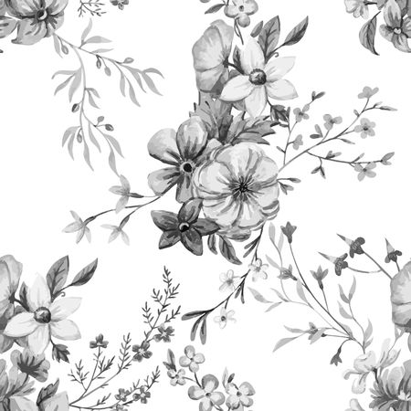 retro pattern: Beautiful seamless vector pattern with nice watercolor hand drawn flowers