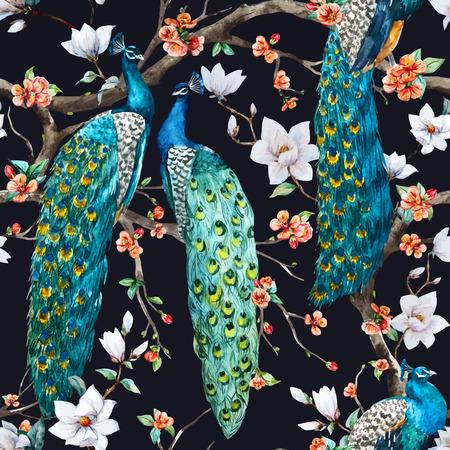 Beautiful vector pattern Watercolor raster peacock pattern