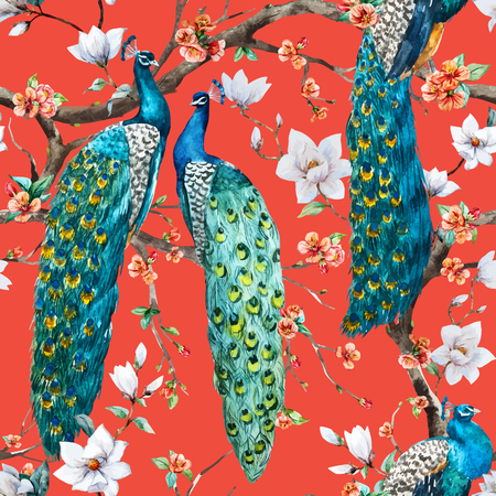 cherry: Beautiful vector pattern Watercolor raster peacock pattern