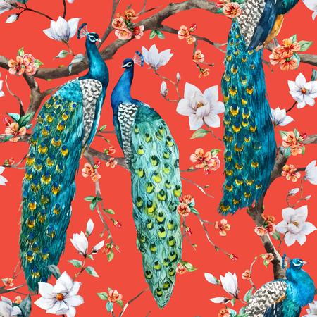 pavo real: Vector patr�n Modelo hermoso de la acuarela de la trama de pavo real