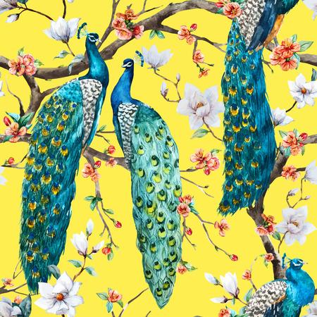 patrones de flores: Vector patr�n Modelo hermoso de la acuarela de la trama de pavo real