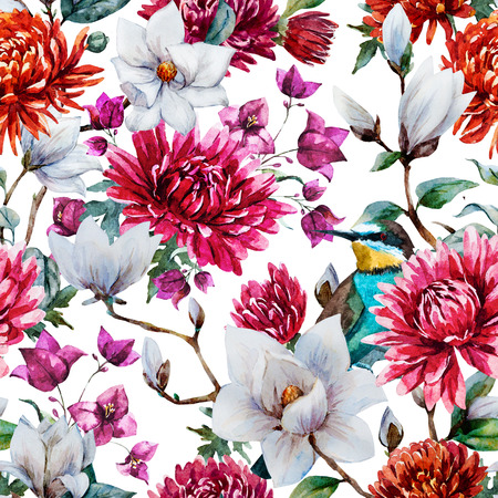 Beautiful raster pattern with nice watercolor chrysanthemum and magnolia
