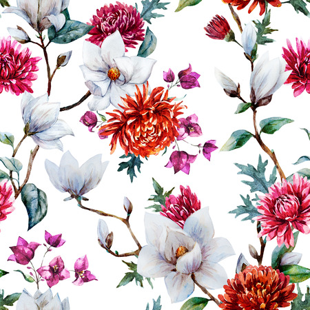 Beautiful raster pattern with nice watercolor chrysanthemum and magnolia