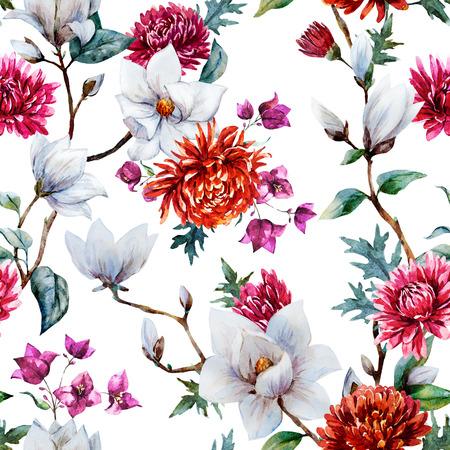 flower drawings: Beautiful raster pattern with nice watercolor chrysanthemum and magnolia