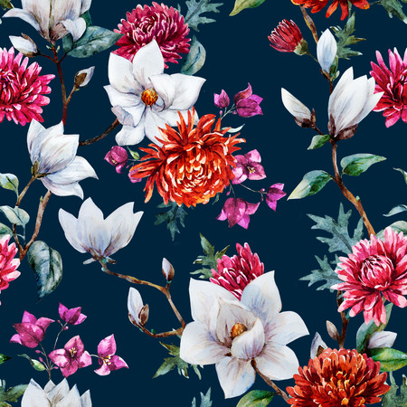 magnolia: Beautiful raster pattern with nice watercolor chrysanthemum and magnolia