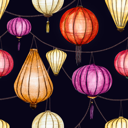 chinese watercolor: raster pattern with watercolor chinese lantern