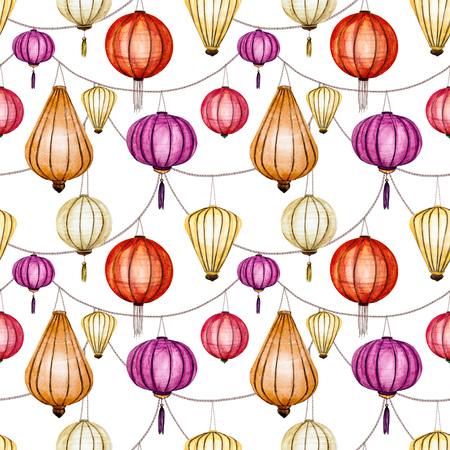 lantern: raster pattern with watercolor chinese lantern