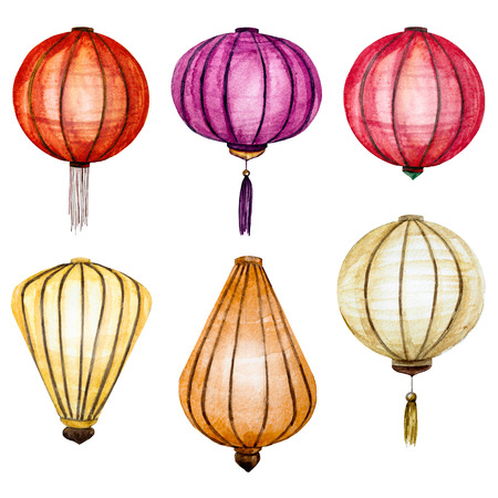 chinese lantern: raster pattern with watercolor chinese lantern