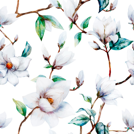illustreated watercolor magnolia flowers