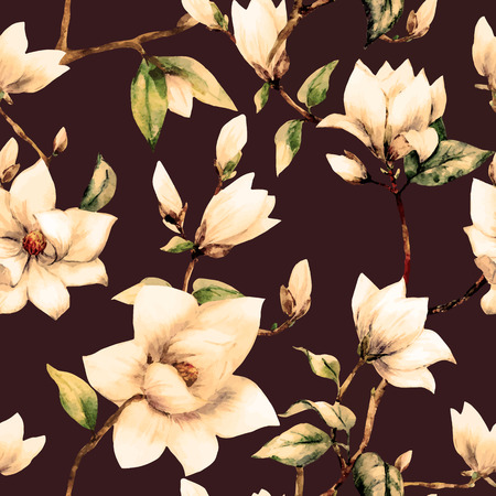 illustreated watercolor magnolia flowers 矢量图像