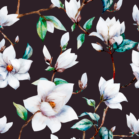 illustreated watercolor magnolia flowers 向量圖像
