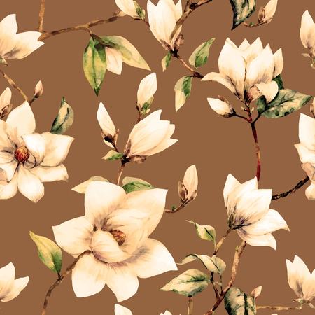 magnolia: illustreated watercolor magnolia flowers Illustration