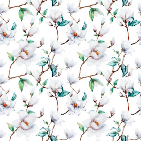 new plant: illustreated watercolor magnolia flowers Illustration