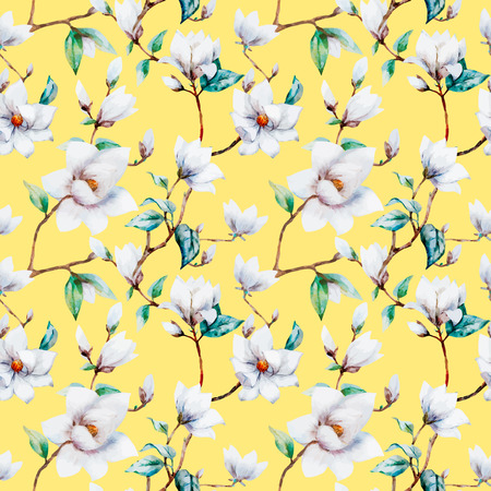illustreated flores de magnolia acuarela