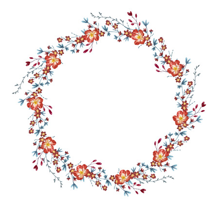 floral wreath: illustrated watercolor floral wreath