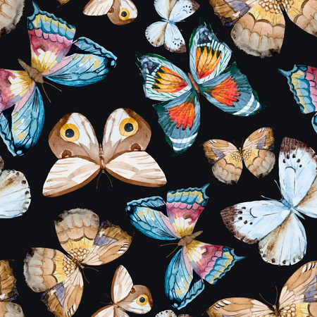 colorful: illustrated watercolor  butterflies