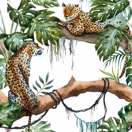 geïllustreerd aquarel leopard