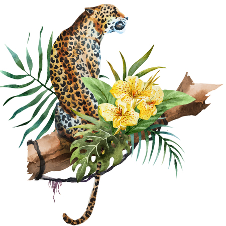 illustrated watercolor leopard 向量圖像