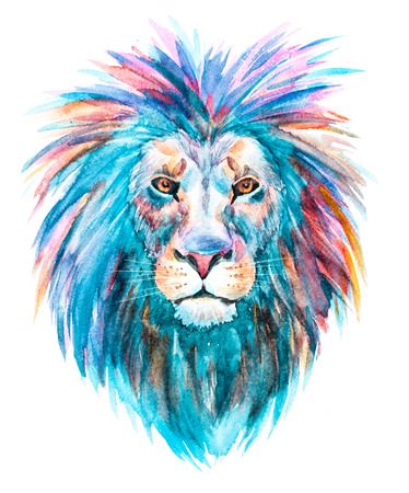Beautiful raster image with nice watercolor lion 스톡 콘텐츠