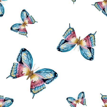 schmetterlinge blau wasserfarbe: Schöne Rastermuster mit schönen Aquarell von Hand gezeichnet Schmetterlinge Lizenzfreie Bilder