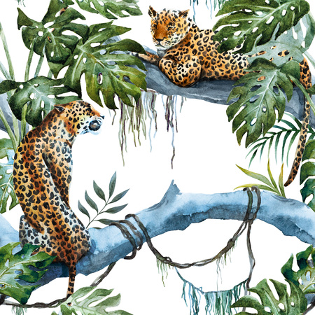 tropics: Beautiful raster ipattern with nice hand drawn leopards in tropics