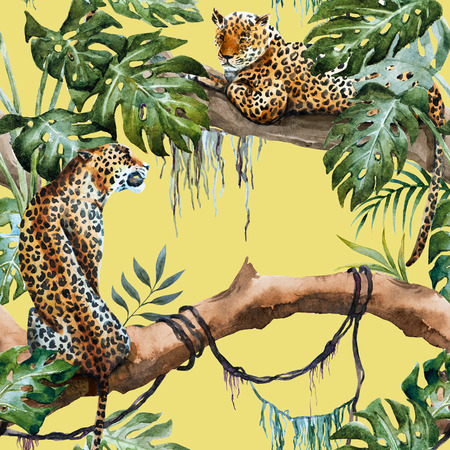 Schöne Raster ipattern mit schönen handgezeichneten Leoparden in den Tropen Standard-Bild - 53006723