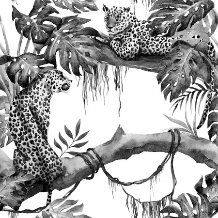 summer nature: Beautiful raster ipattern with nice hand drawn leopards in tropics