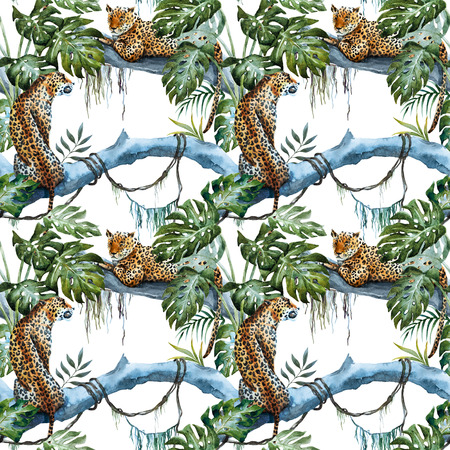 tropics: Beautiful raster ipattern with nice hand drawn leopards in tropics