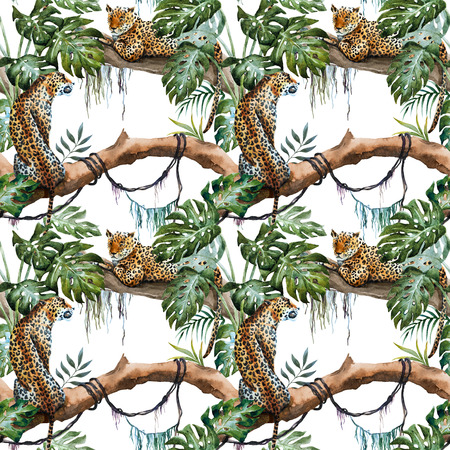 animal pattern: Beautiful raster ipattern with nice hand drawn leopards in tropics