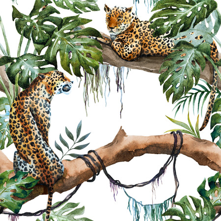 Beautiful raster ipattern with nice hand drawn leopards in tropics