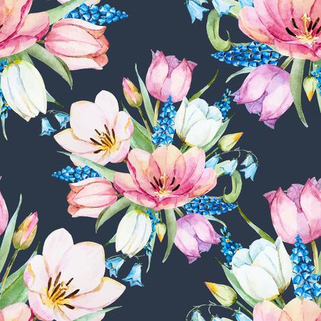 Beau motif de trame avec une belle aquarelle des fleurs de printemps doux