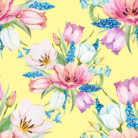 new plant: Beautiful raster pattern with nice watercolor gentle spring flowers