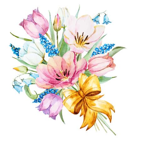 Prachtige vector afbeelding met mooie aquarel handgetekende lentebloemen Vector Illustratie