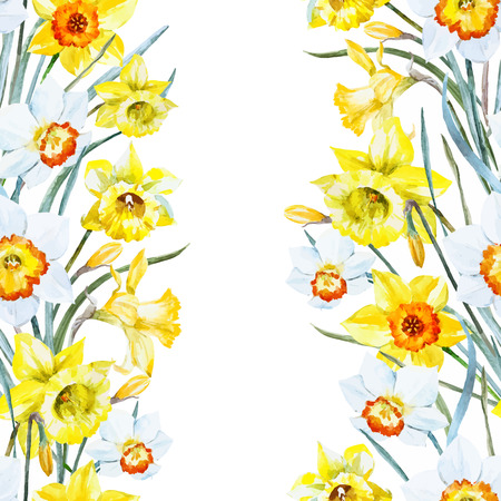 Beautiful pattern with nice watercolor hand drawn spring flowers Vettoriali