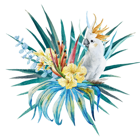 Beautiful vector image with nice watercolor tropical floral composition