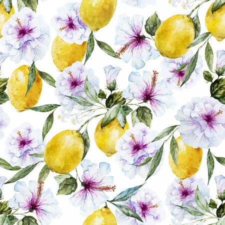citrus tree: Beautiful seamless vector pattern with nice watercolor lemons and hibiscus