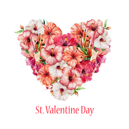 floral heart: Beautiful vector image with nice watercolor floral heart