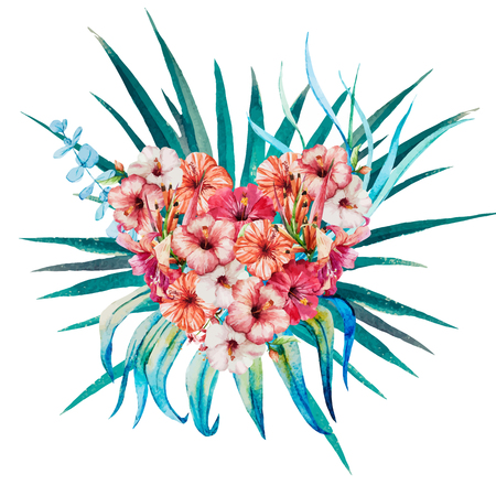 flower heart: Beautiful vector image with nice watercolor floral heart