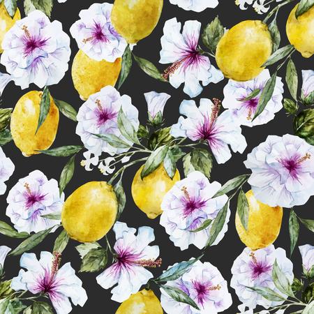 lemon tree: Beautiful seamless vector pattern with nice watercolor lemons and hibiscus