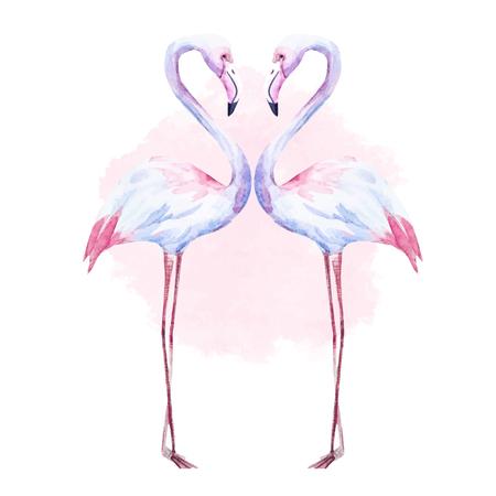 좋은 수채화 손으로 그린 플라밍고와 아름 다운 이미지