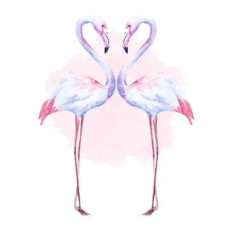 Beautiful image with nice watercolor hand drawn flamingo