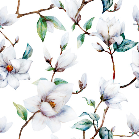 graphic flower: Beautiful raster pattern with nice watercolor magnolia flowers