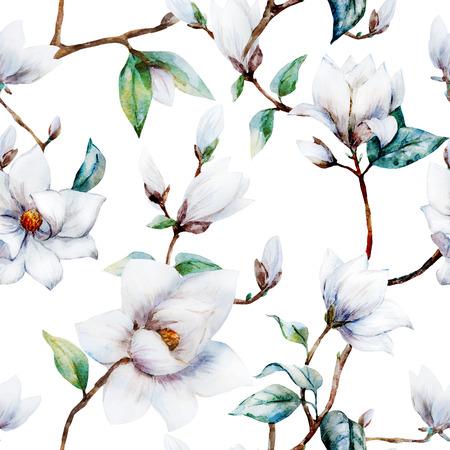 dibujos de flores: patrón de trama hermosa con magnolia bonita acuarela flores Foto de archivo