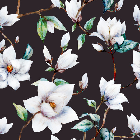 Beautiful raster pattern with nice watercolor magnolia flowers Stok Fotoğraf - 53506924
